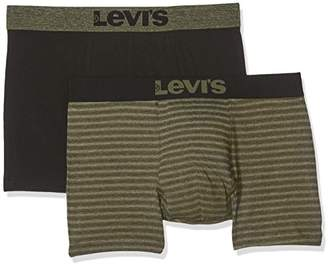 Levi's Men's 200SF BIRDFEET Stripe Boxer Brief 2P Shorts, Multicolour (Olive Green/Black 574), (Pack of 2