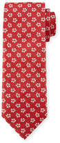 Canali Floral Pattern Silk Tie, White/Red