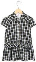 Makie Girls' Plaid Button-Up Dress