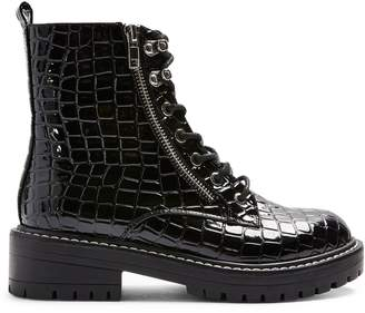 Topshop Kiki Croc-Embossed Lace-Up Boots