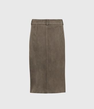 AllSaints Lorel Suede Midi Skirt