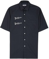 Lanvin Navy Embroidered Cotton Shirt