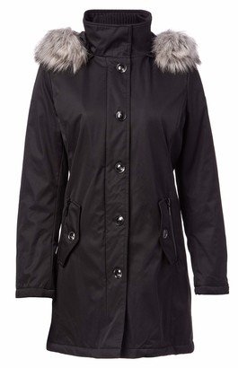 Kensie Women's Bonded Button up Parka with Faux Fur Trimmed Fully Removable Hood