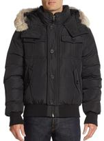 Mackage Leather & Coyote Fur-Trimmed Down Jacket