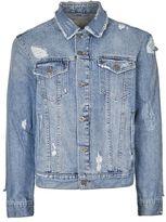 Topman Blue Distressed Denim Jacket