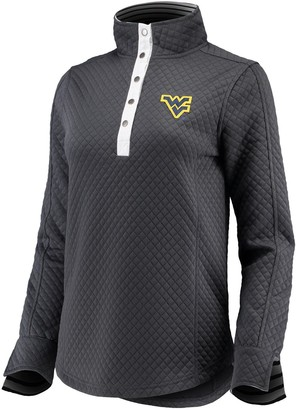 Women's Charcoal West Virginia Mountaineers Out of Your League Quilted Quarter-Snap Pullover Jacket
