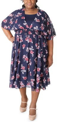 Robbie Bee Plus Size Floral-Print Fit & Flare Dress