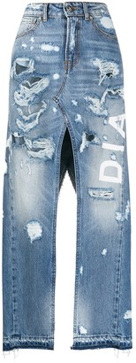 John Richmond High Rise Front Slit Denim Skirt