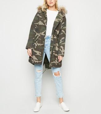 New Look Camo Faux Fur Trim Hooded Parka