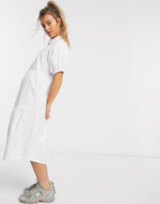 Daisy Street midaxi smock dress with tiered skirt and puff sleeves in cotton