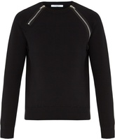 Givenchy Front-zip cotton-blend sweatshirt