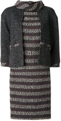 Chanel Pre Owned Layered Sleeves Woven Dress
