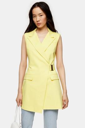 Topshop Womens Yellow Belted Sleeveless Blazer - Lemon