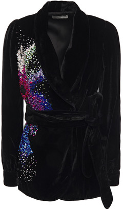 Mary Katrantzou Belted Embellished Velvet Jacket