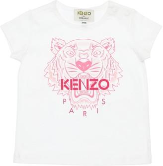 Kenzo Kids Tiger Print Cotton Jersey T-Shirt