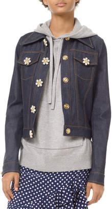 Michael Kors Floral Gem-Button Denim Jacket