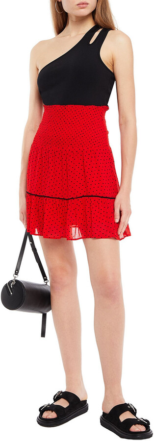 Thumbnail for your product : Ganni Shirred Polka-dot Georgette Mini Skirt