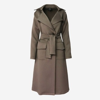 Bluzat Brown Trench Coat With One Button Closure & Waist Tie