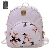 Donalworld Girl PU Leatherini Backpack Floralini School Bag