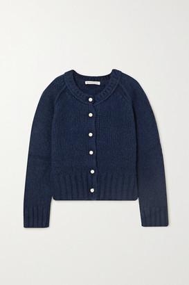 ALEXACHUNG Faux Pearl-embellished Merino Wool-blend Cardigan - Navy