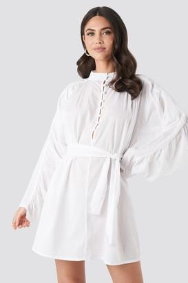 NA-KD Gathered Sleeve Tied Waist Shirt White