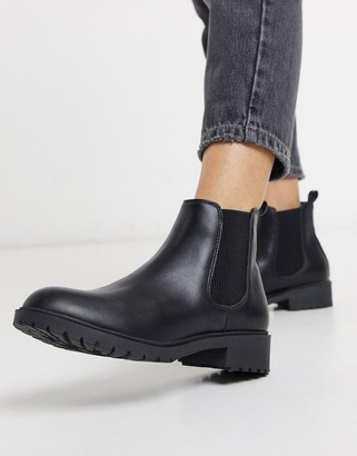 New Look flat pu chelsea boots in black