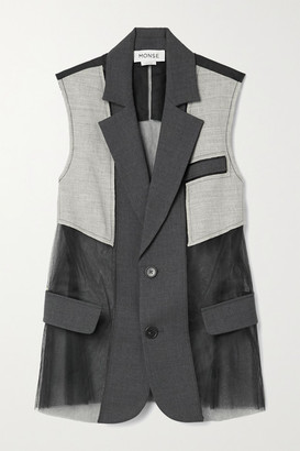 Monse Paneled Wool-blend And Tulle Vest - Charcoal