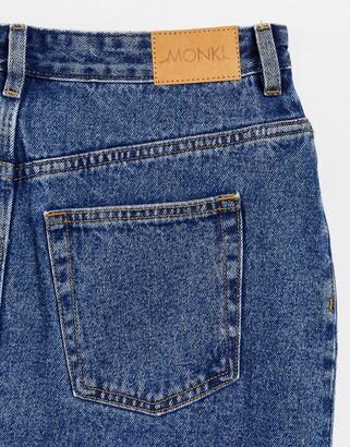 Monki Mimmie organic cotton denim mini skirt in mid wash