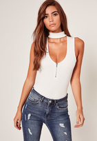 Missguided Ribbed Choker Neck Zip Front Bodysuit White