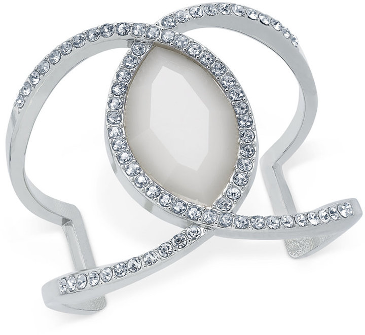 INC International Concepts Large Stone and Pavé Cuff Bracelet, Created for Macy's