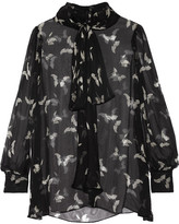 Alexander McQueen Pussy-bow Printed Silk-crepon Blouse - Black
