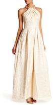 Carmen Marc Valvo Embellished Halter Sleeveless Metallic Gown