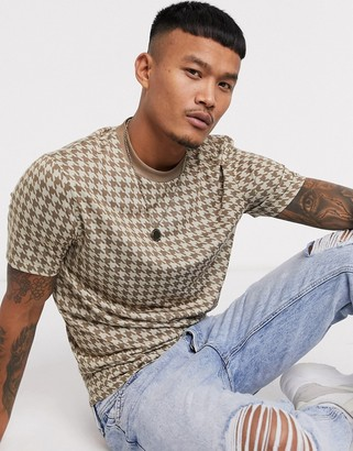 ASOS DESIGN t-shirt with all over dogtooth in brown