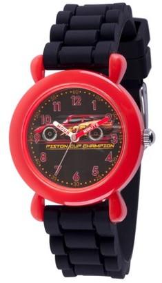 Disney Cars 3 Lightning McQueen Boys' Red Plastic Time Teacher Watch, Black Silicone Strap