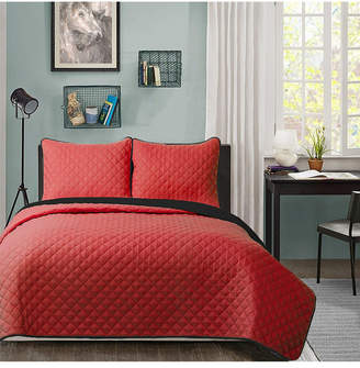 University Solid Reversible 3pc King quilt set Red reverse to Black Bedding