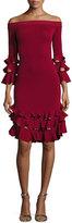 Jonathan Simkhai Off-the-Shoulder Slashed Knit Ruffled Midi Dress