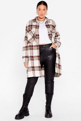 Nasty Gal Womens Let's Check Outta Here Plus Longline Shirt Jacket - Cream
