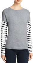 French Connection Drop Shoulder Stripe Sleeve Sweater
