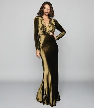 Reiss Klara - Velvet Plunge Neckline Maxi Dress in Khaki