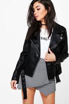 boohoo Mia Plait Detail Faux Leather Belted Biker Jacket