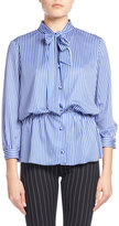 Balenciaga Striped Tie-Neck Gathered-Waist Blouse, Blue/White