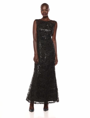 Ignite Women's Sequined Lace Gown Dress