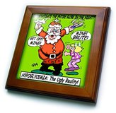 Monroe 3dRose LLC ft_2821_1 Rich Diesslins Cartoon Days of Christmas TCDC - Ira Santa and Hypoglycemia - Framed Tiles