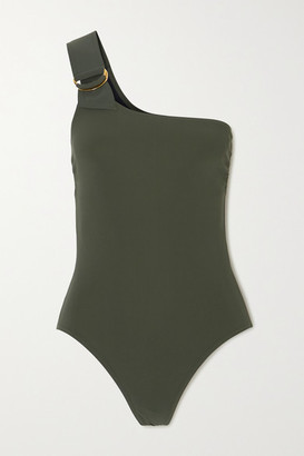 Karla Colletto Angelina One-shoulder Swimsuit - Army green