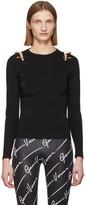 Versace Black Safety Pin Crewneck Pullover