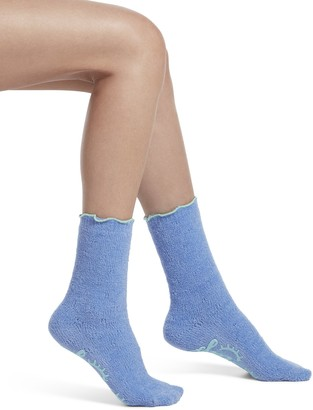 Hue Women's Quilted Ultra Soft Crew Slipper Sleep Sock with Grippers