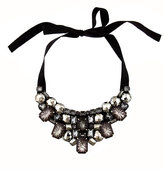 Crystal Encrusted Ribbon Bib Necklace