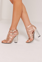 Missguided Crushed Heel Satin Gladiator Block Heel Nude