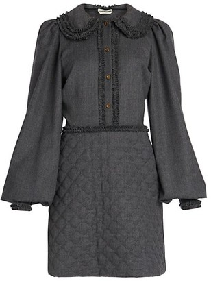 Fendi Abito Light Flannel Wool Blouson-Sleeve Dress