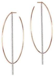 Diane Kordas Bar Diamond & 18K Rose Gold Hoop Earrings